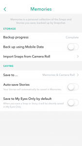 Enable Snapchat save to Camera Roll Stage 3